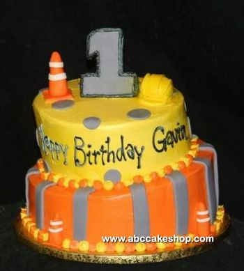 construction first birthday cake