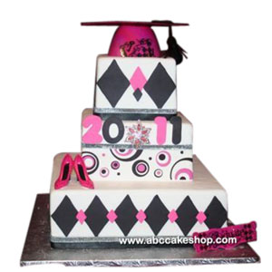 (1190) 3-Tier Pink and Black Graduation Cake
