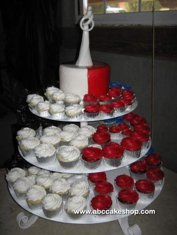 Red White Black and Blue wedding cupcakes