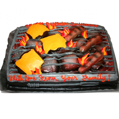 Bar-B-Que Grill with Hamburges and Hot Dogs
