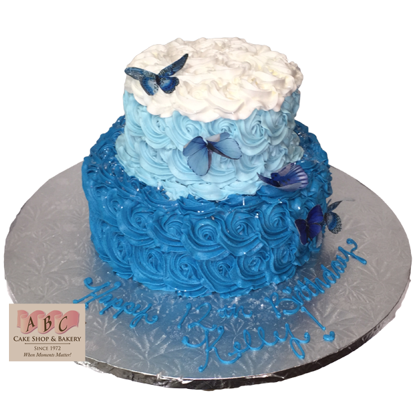 birthday party cake 1796 2 tier blue butterfly birthday cake abc cake shop 1797