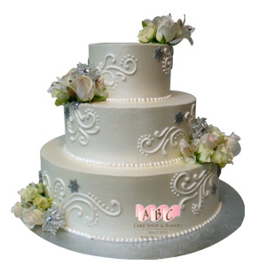 Wedding cakes archives abc cake shop bakery 2222 3 tier round wedding cake with roses junglespirit Gallery