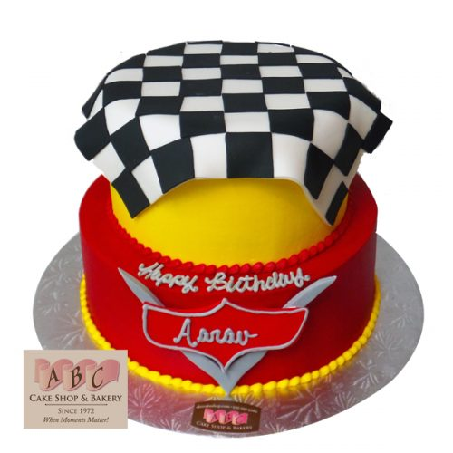 (2252) 2 Tier Disney Cars Racing Cake
