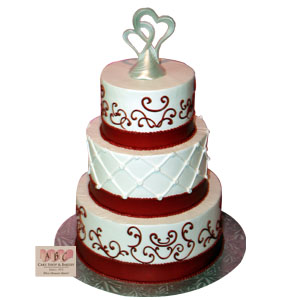 (2279) 3 Tier Red & White Wedding
