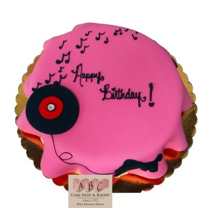 (2263) 50's Poodle Skirt Birthday Cake with a record