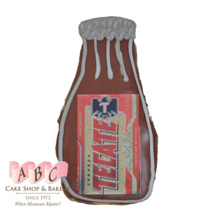(2259) Tecate Beer Bottle Sugar Cookies iced for Cinco De Mayo