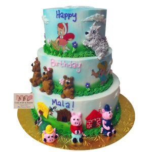 (2302) 3 Tier Fairy Tale Cake with the 3 bears, 3 little pigs, Little Red Riding Hood & The Big Bad Wolf