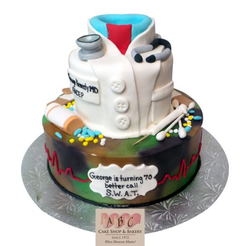 2307 Over The Hill Medical 70th Birthday Cake With Doctors Coat