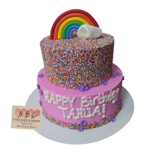 2 Tier Rainbow Sprinkle Birthday Cake