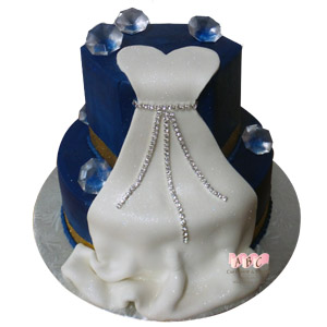 2 Tier blue cake with engagement dress diamonds