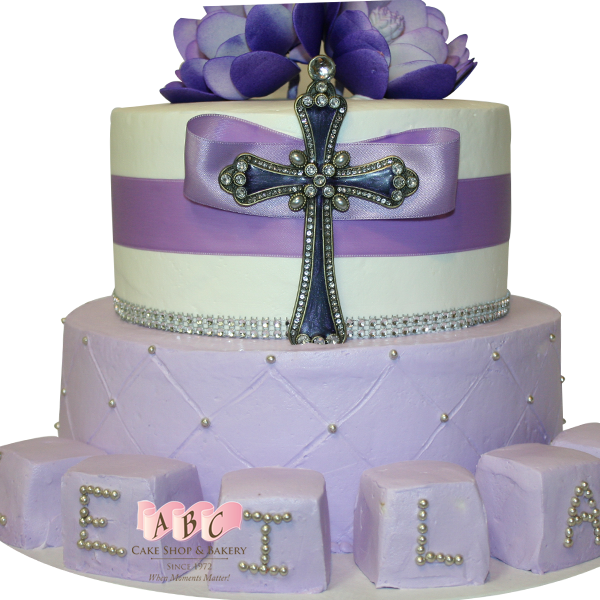 (1339) 2 Tier Purple Cross Cake